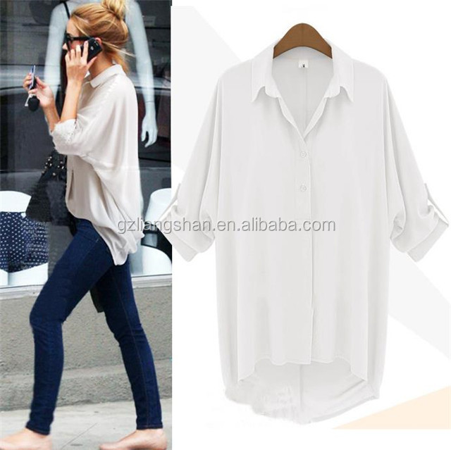 2016 New Ladies Western Blouse Women Loose Casual Shirt White ...