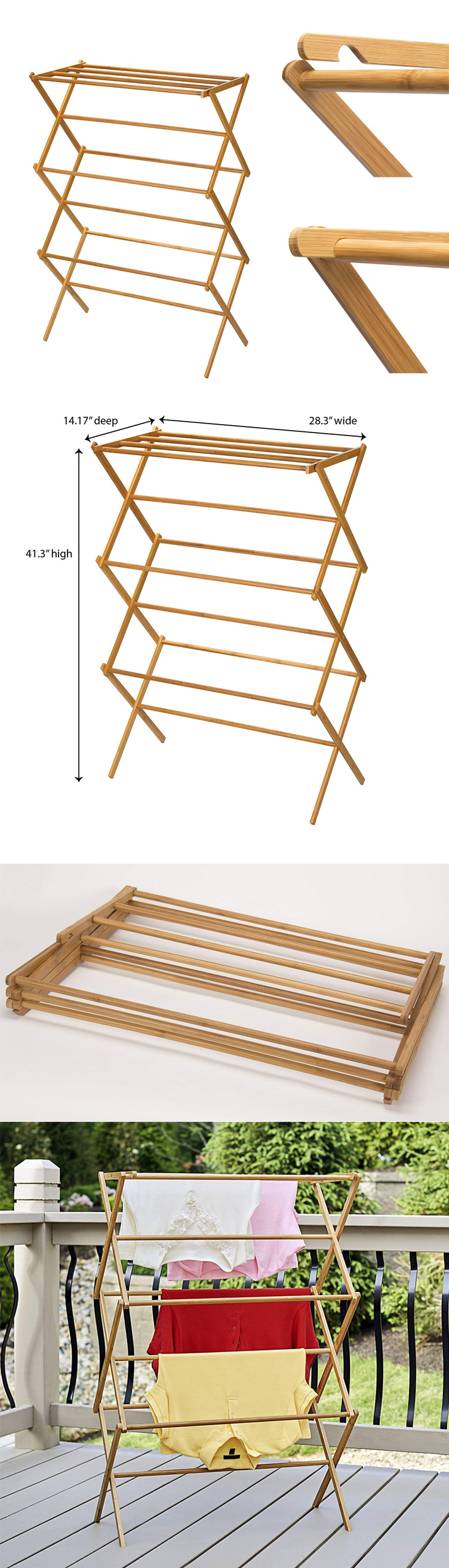 Foldable Bamboo Wooden Clothes Drying Rack