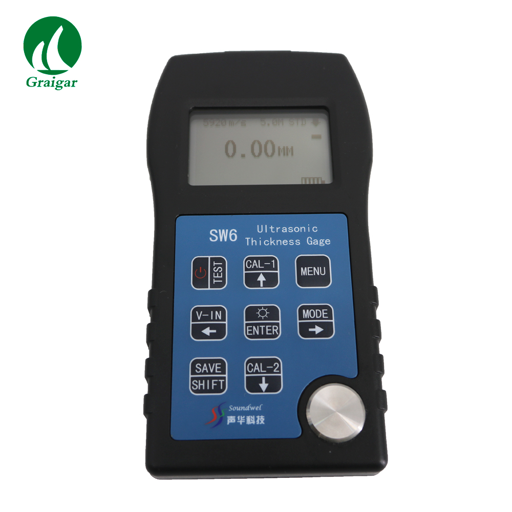 SW6 Digital Ultrasonic Thickness Gauge 5MHz, 10mm Probe Range 1-260mm with USB
