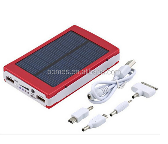 Solar Charger, Portable Solar Power Bank 1000mAh Dual USB Battery Charger External Backup Power