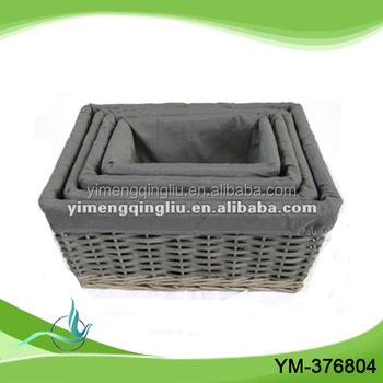 Handmade Fabrc Lined Wicker Cube Storage Basket