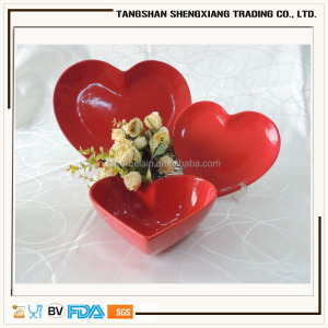 China supplier heart shape solid color ceramic dinner set