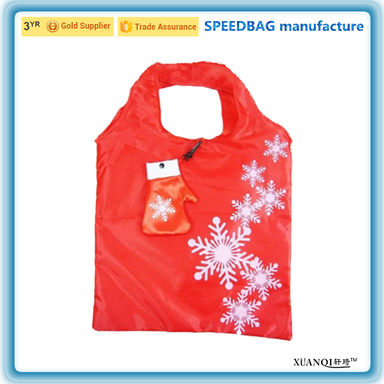 factory custom reusable polyester folding foldable Christmas glove shopping tote bag with pouch