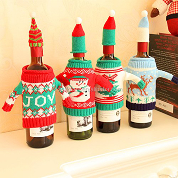 Christmas Decoration Wine Bottle Covers Beer Sleeve Winter Holiday Knit Sweaters Buy Crochet Wine Bottle Cover Novelty Wine Bottle Covers Knitted
