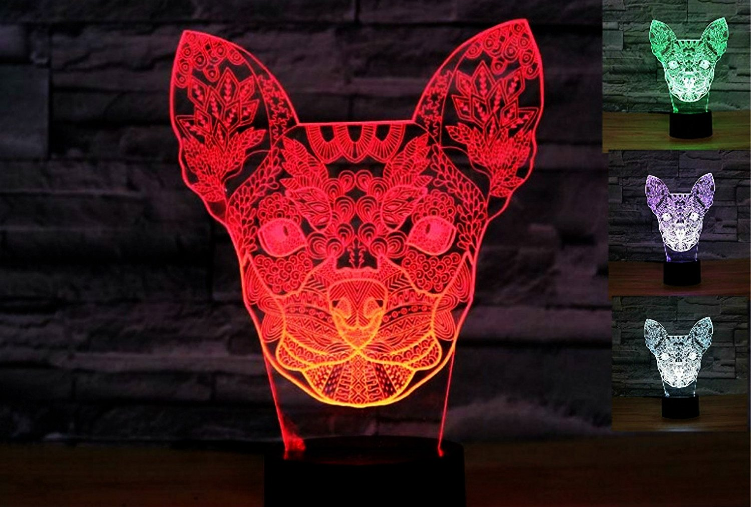 3D Chihuahua Dog Night Light Puppy 3D Dog Night Lights Table Lamp Decor Table Desk Optical Illusion Lamps 7 Color Changing Lights LED Table Lamp Xmas Home Love Brithday Children Kids Decor Toy Gift
