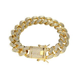hiphop mens jewelry 925 sterling silver 18k gold iced out cuban link bracelet for gift