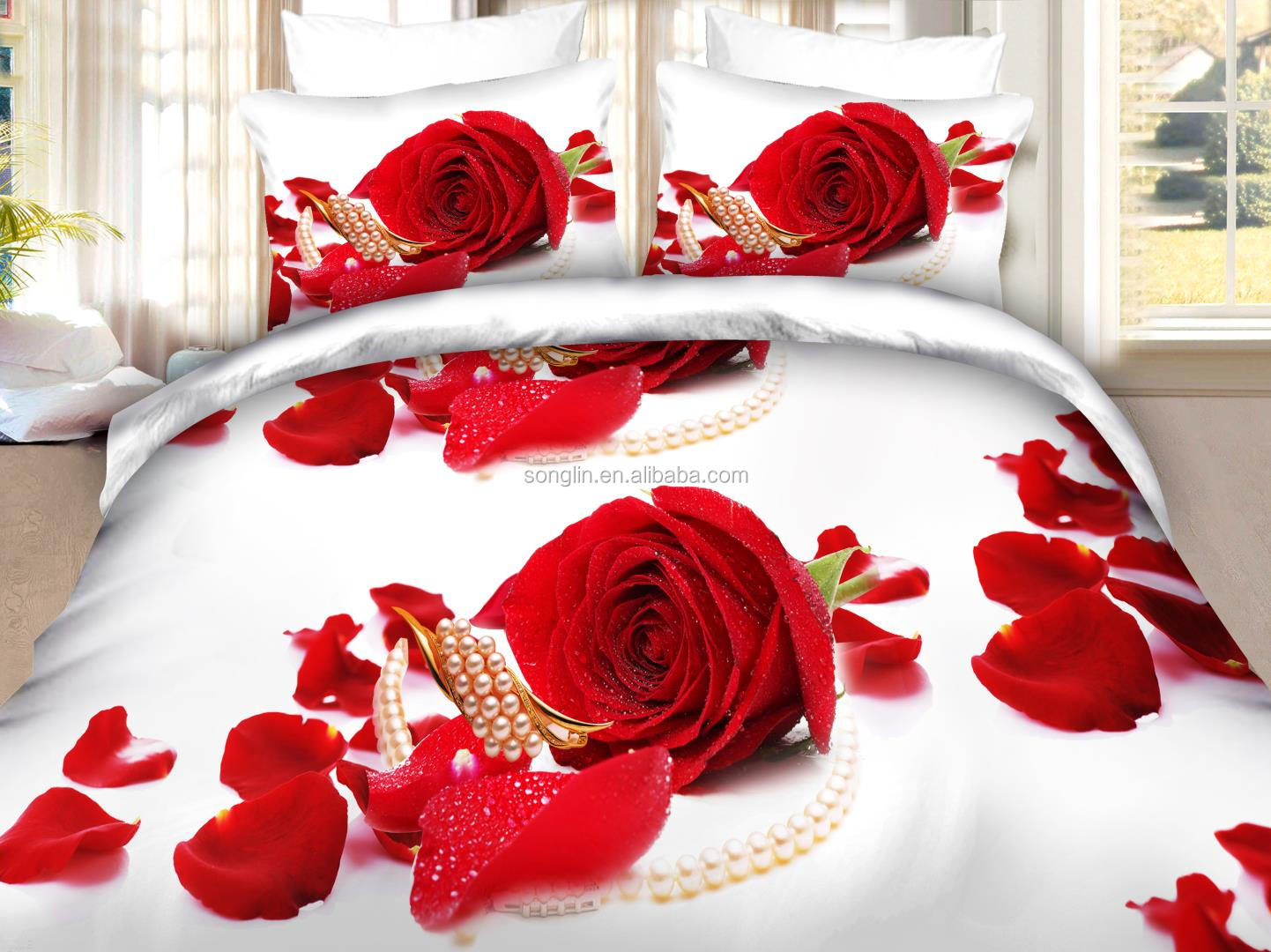 Wedding bed sheet set - Red Rose 3d Disperse Printing Bedsheet Set For Wedding