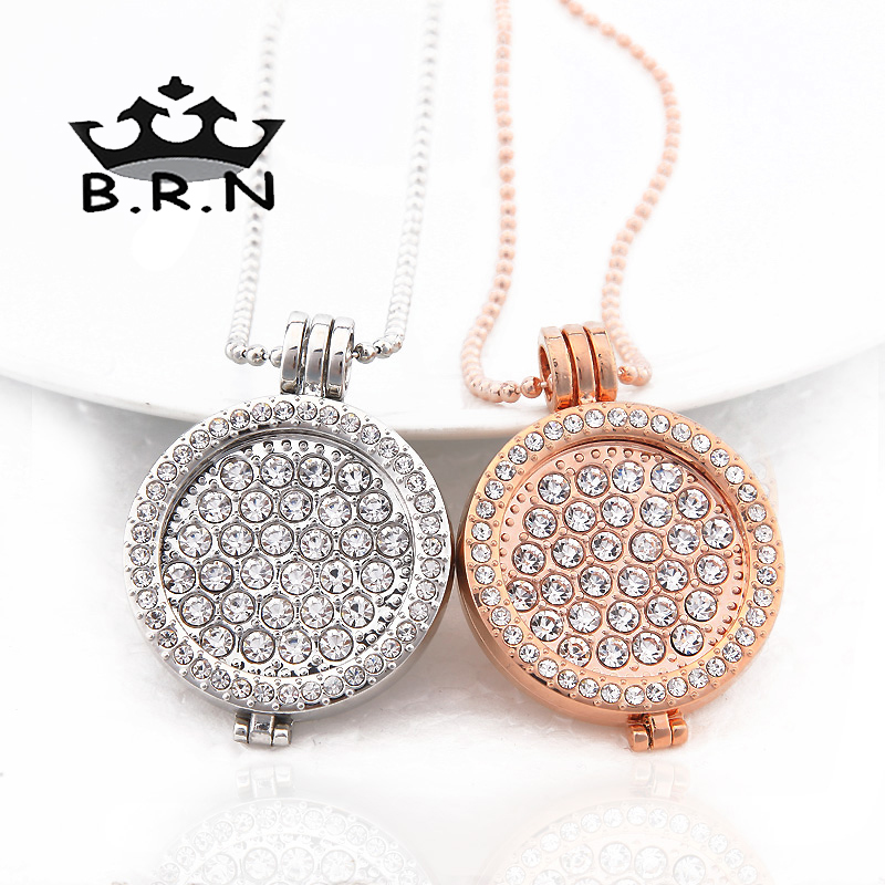 Bijoux My Coin Big White CZ Crystal Coin Collares