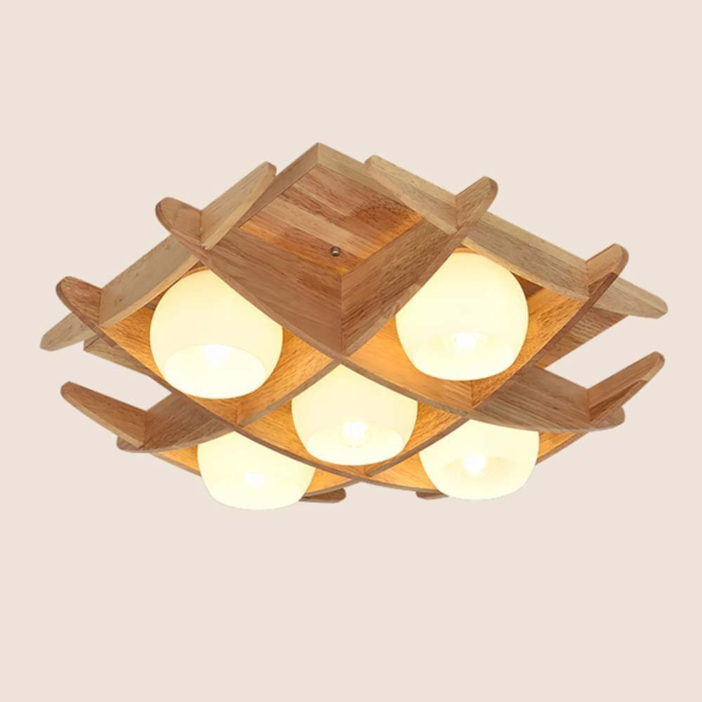 DIDIDD Ceiling light- chinese creative led solid wood scandinavian minimalism ceiling light bedroom living room study aisle restaurant ceiling light (style optional) --home warm ceiling lamp