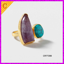 CR77299 wholesale fashion jewelry women accessories plated gold turquoise agate ring