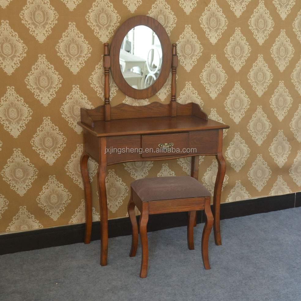 Antique mirrored dressing table - Antique Rococo French Country Style Classic Cheap Single Drawer Dressing Tables With Round Mirror Stool