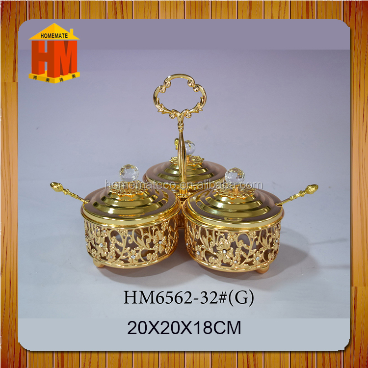 Metal crafts sugar pot sugar bowl and milk cup set kitchen accessories salt cup