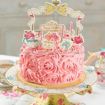 Vintage Tea Party Pop Tops Fleur Gâteau Joyeux Anniversaire Gâteau Toppers Et Présentoirs à Gâteaux Buy Gâteaux De Joyeux Anniversairekit De