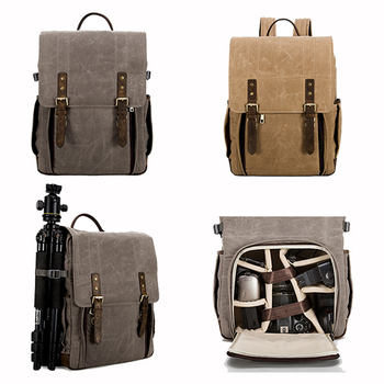 23e683f3208d Vintage Genuine Leather And Waterproof Grey Waxed Canvas Digital Canvas  DSLR Camera Backpack