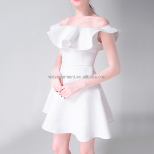 Cute white dresses for party,white dress for a party,flare neck white and floral dress