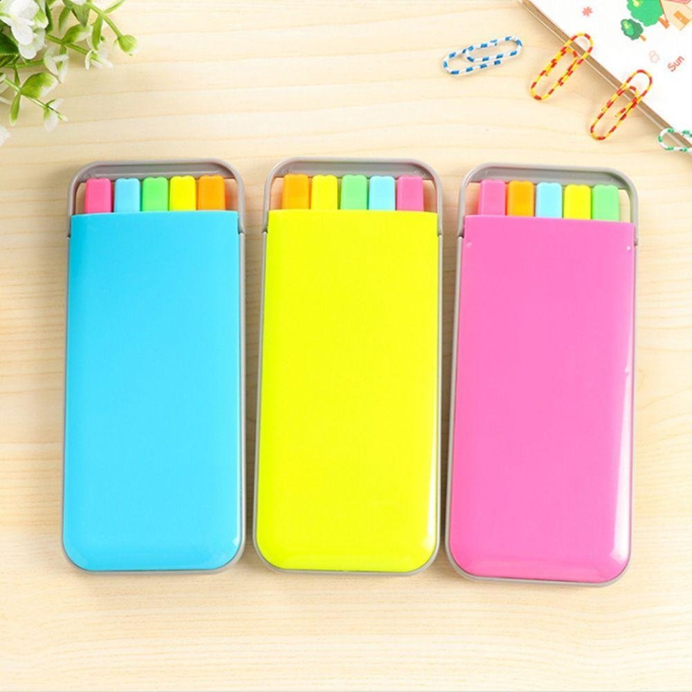 Aiweikang 5pc/set Lovely School Candy Color Highlighter Pen Markers Mini