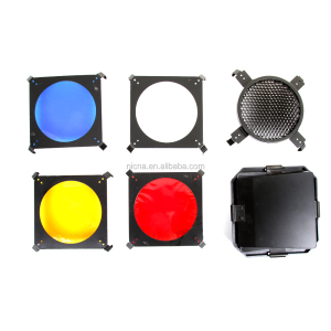 Universal Mount Studio flash Barn Door with Honeycomb Grid and 4 Gel Color Filters Kit