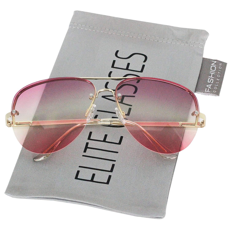 86c6e90ddd Get Quotations · Elite Unique Three Tones Colorful Oceanic Lens Rimless  Metal Frame Aviator Sunglasses