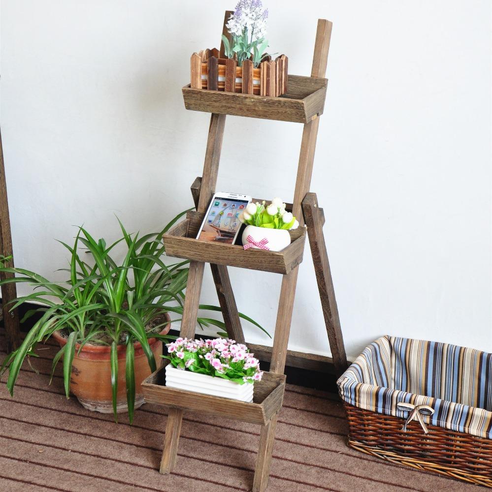 Outdoor Plant Stand Flower Garden Pot Display Wooden Shelf Planter 3 Tier Rustic Wood Foldable