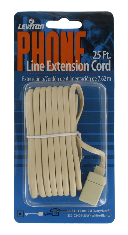 Leviton C2406-25I 25-Foot Flat wire Modular Phone Line Extension Cord, Ivory