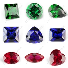 5A machine cut synthetic emerald sapphire and ruby stone