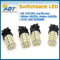 3157 Dual Color Switchback White/Amber LED Turn Signal Light Bulbs + Resistors