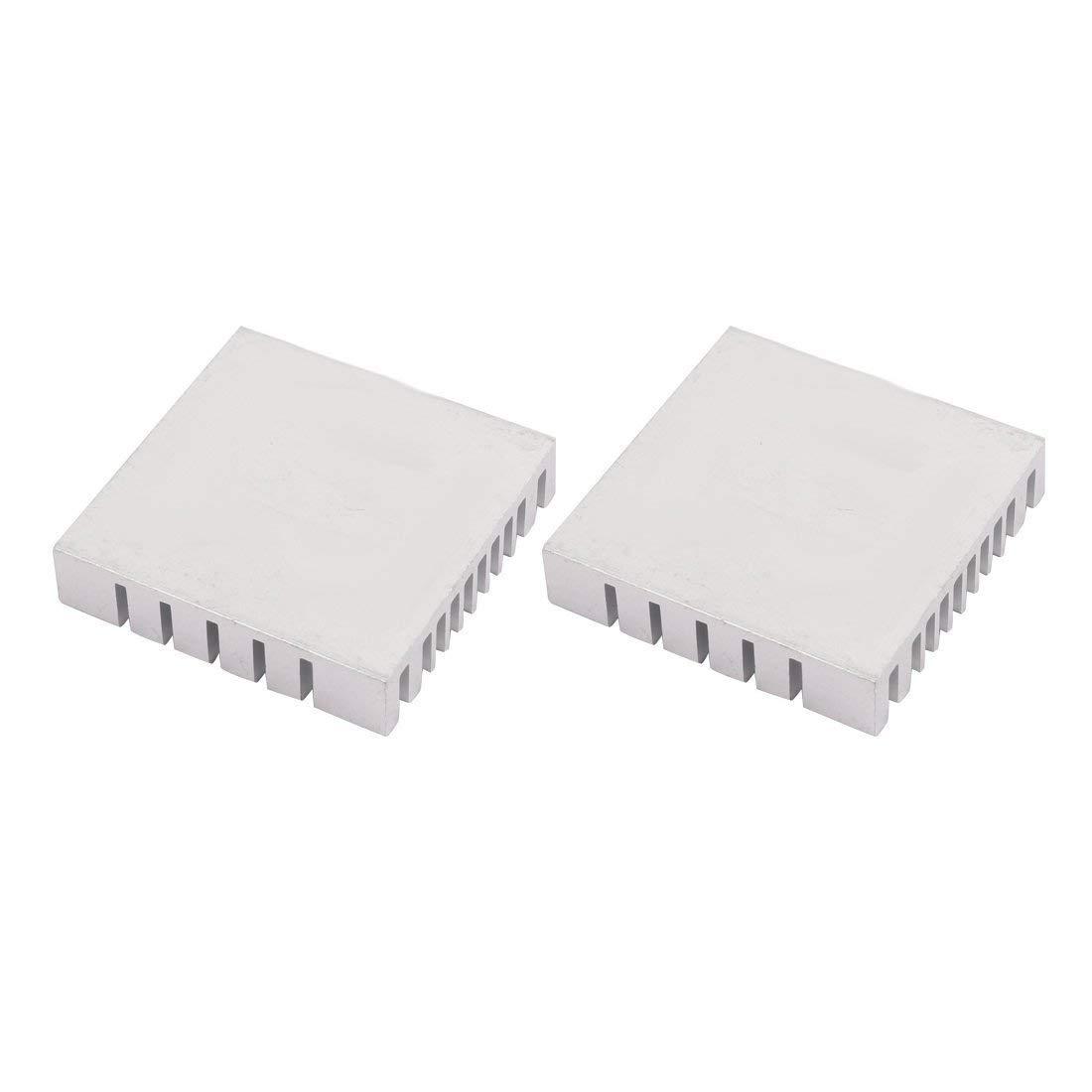 Ucland 2Pcs 40mm x 40mm x 9mm Aluminum Heatsink Heat Diffuse Cooling Fin Silver Tone
