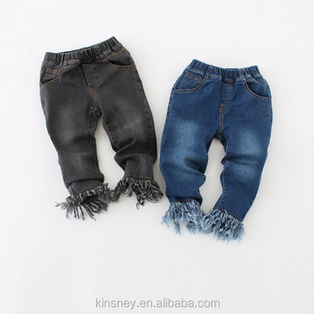 Ks10564g 2016 New Style Kids Jeans Pants Fashion S With Fringe Bottom