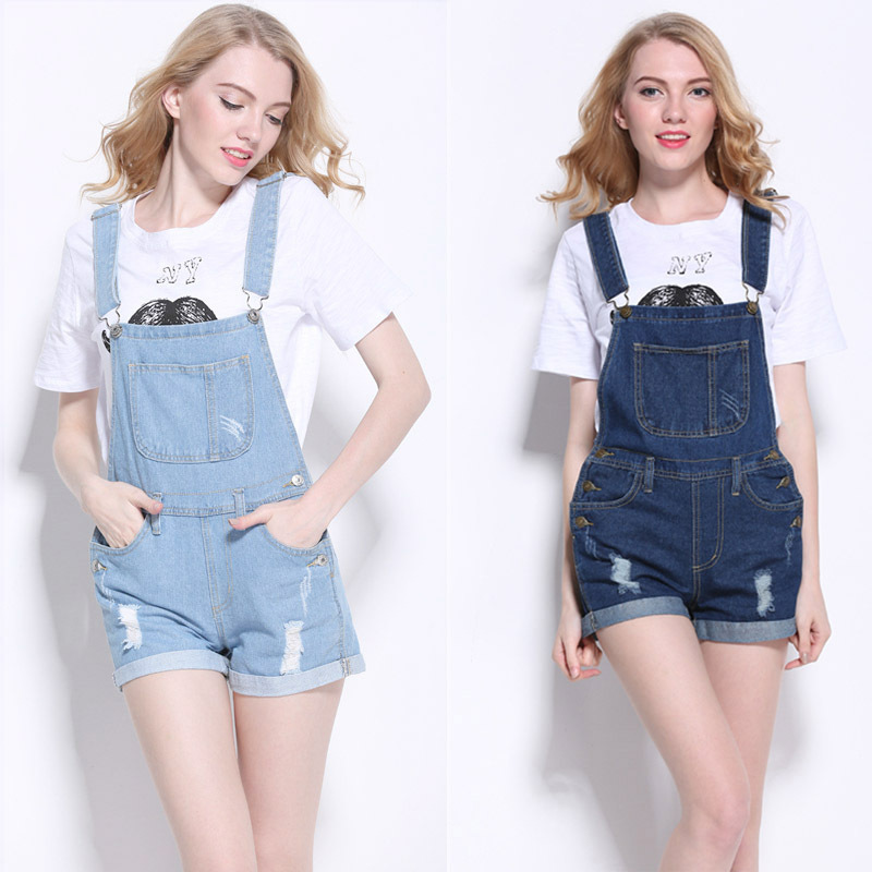 2e7e0805cd09 Get Quotations · New 2015 Top Quality Women Girls Washed Jeans Denim Casual  Hole Jumpsuit Romper Overalls Light Blue