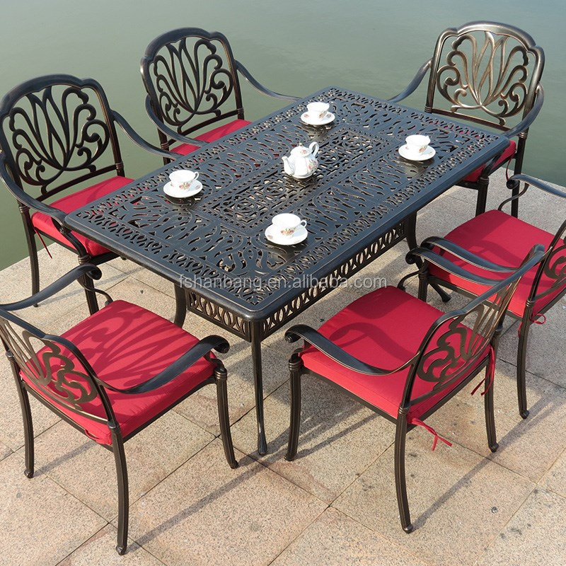 metal commercial garden patio outdoor furniture rectangular 6 seat antique cast wrought iron. Black Bedroom Furniture Sets. Home Design Ideas