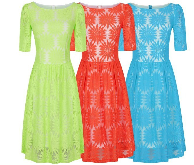 Clearance 2013 Autumn Summer New Fashion Mint Blue Red Flower Lace Dresses for Women ...