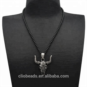 Stainless Steel Ox Pendant Onyx Necklace Jewelery