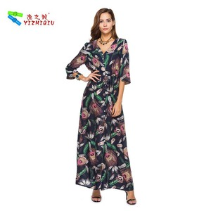 YIZHIQIU Beautiful Peacock Hair Pattern Boho Dress