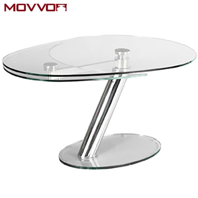 Functional Fantastic Italian Design Oval Gl Extending Dining Table With Chromed Base