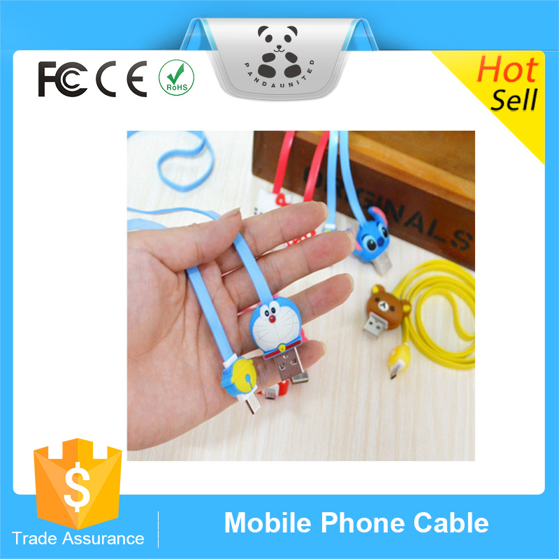 Hot Sale Flat Noodle USB Cellphone Cables Cartoon LED Micro Usb Cables For Android Devices