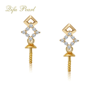 Fashionable yellow 10k gold jewellery white freshwater pearl earring design