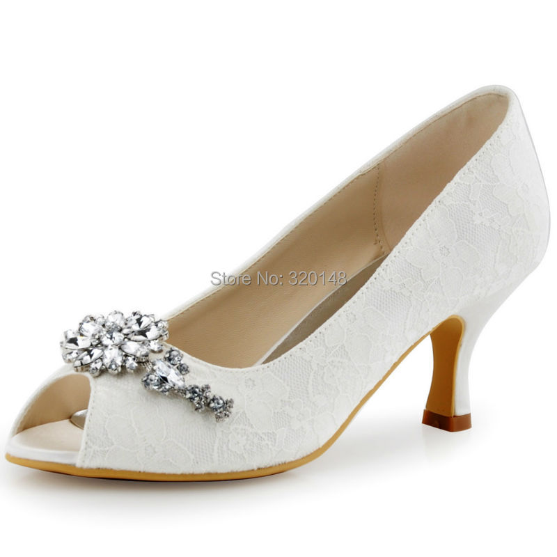 New HP1539 White Ivory Peep Toe Women Wedding Shoes Clip Buckle High Heels Lace Bridal Shoes