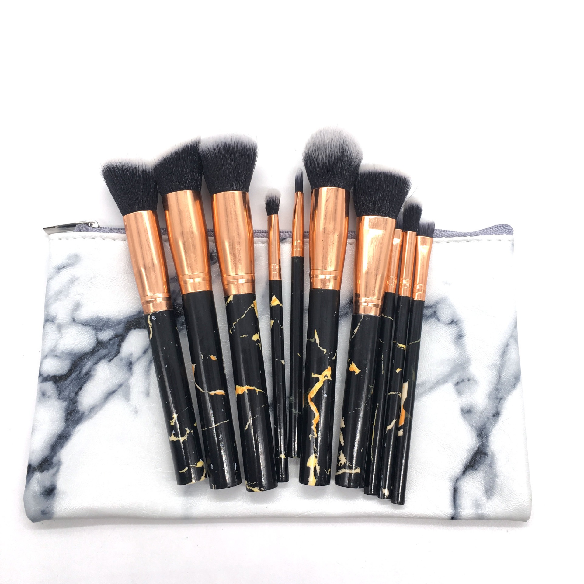 Wholesale Luxury Synthetic Cosmetic Make Up Brushes Kabuki Colorful Handle Makeup Eye Brush Set
