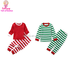Girls boutique clothing fall 2018 Kid Clothing Infant Cute Pyjamas Clothes Sets Fancy Christmas Toddler Blank Stripe pajamas