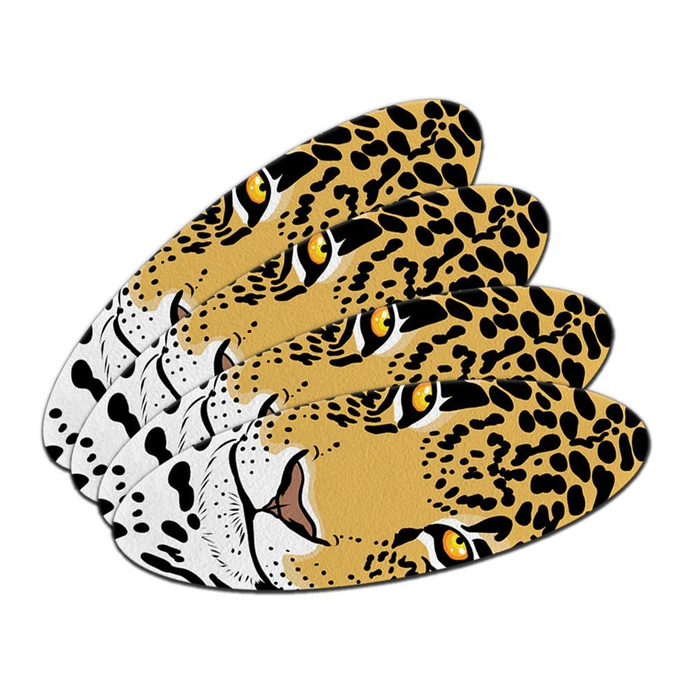 Leopard - Big Cat Double-Sided Oval Nail File Emery Board Set 4 Pack