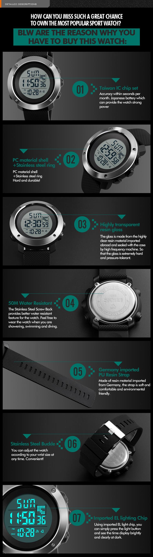 e36f29af87a3 1268 skmei marca reloj podómetro hombres y mujeres impermeable multifunción  militar LED Digital deporte al aire