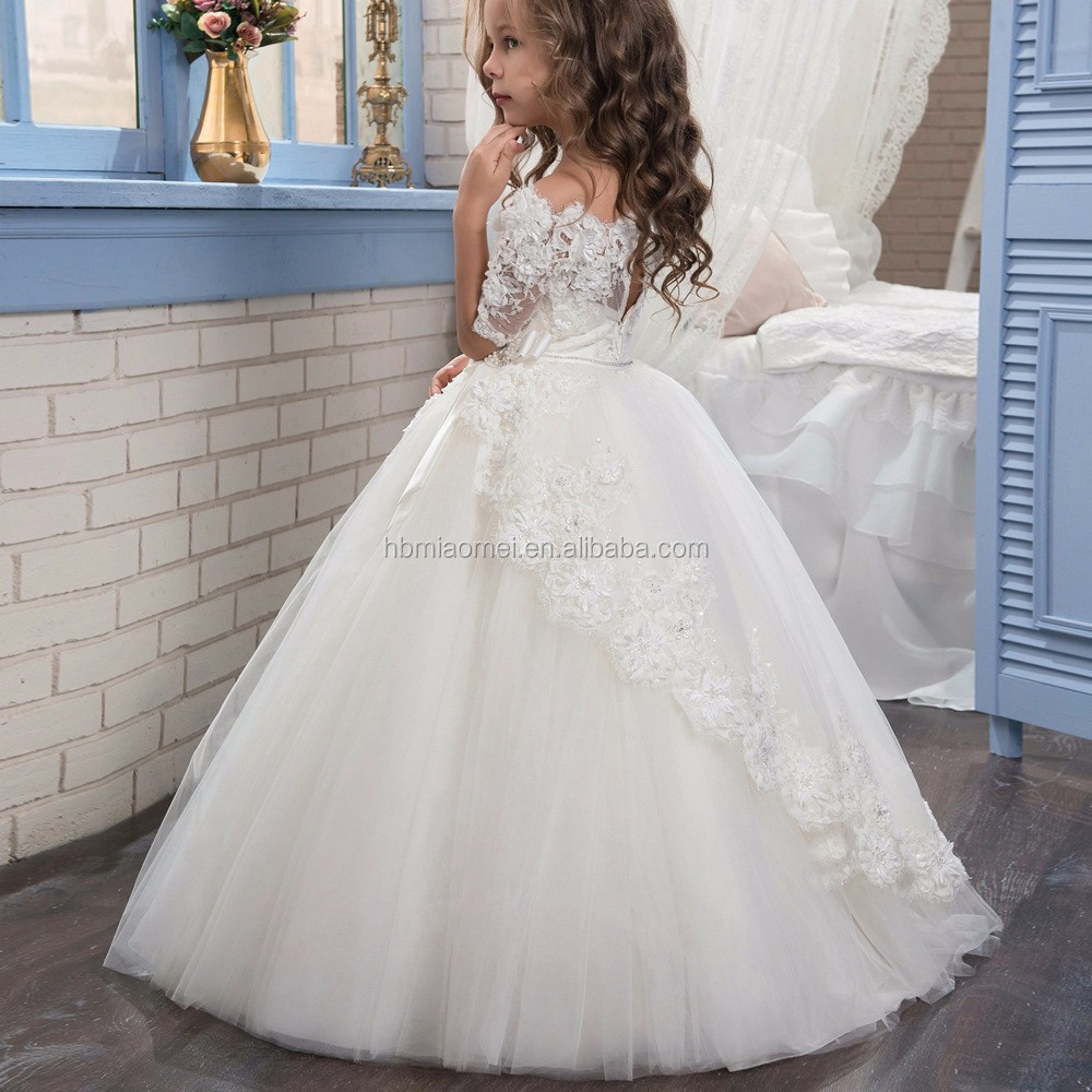 ece3c54335 New fashion white and ivory girls wedding dress floral lace middle sleeve vintage  flower girl dress
