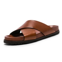 chinese slides factory high quality men's luxury leather slides Men's cross strap slide sandals