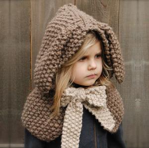 ee329086795 Kids Knit Cap Crochet Animal Rabbit ear Hat Scarf Warm Winter Hat Handmade  Coif Hooded Beanie
