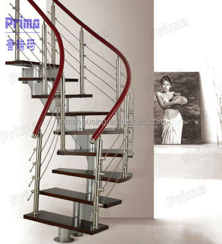 Interior Wood Curved Staircase With Stainless Steel Rod Railing