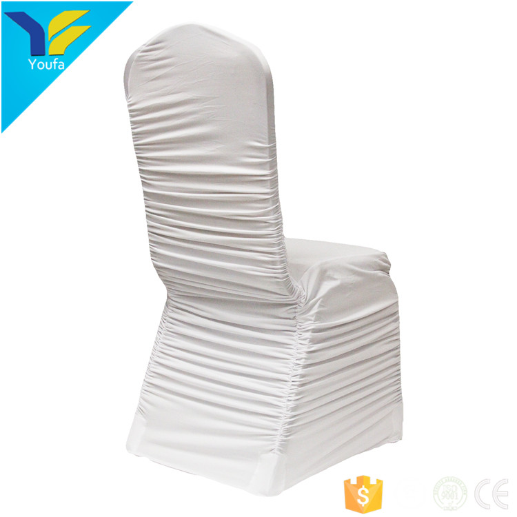 White banquet spandex chair covers stretch polyester ruffled ruched wedding chair cover