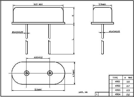 HC-49/S Low Profile HC49S DIP xtal 4.897MHz Crystal Oscillator