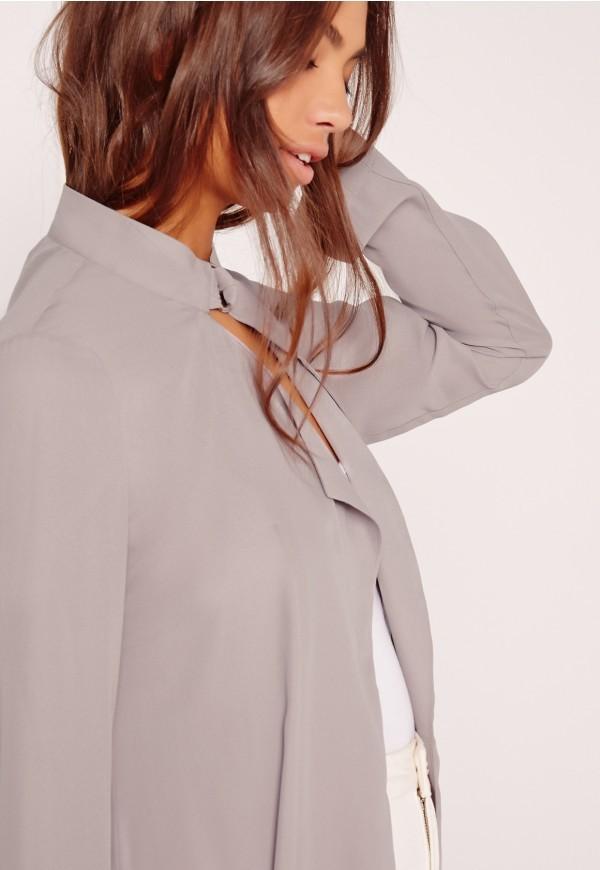 51948290c0fe8 HSC3016 Dernière conception femmes hiver manteaux cravate cou mousseline  manteau gris dernier pantalon manteau photo