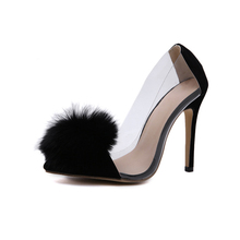 Summer Fashion Transparent Sexy Rabit Fur Stiletto Pointed Toe Shallow Shoes Women Heel Pumps