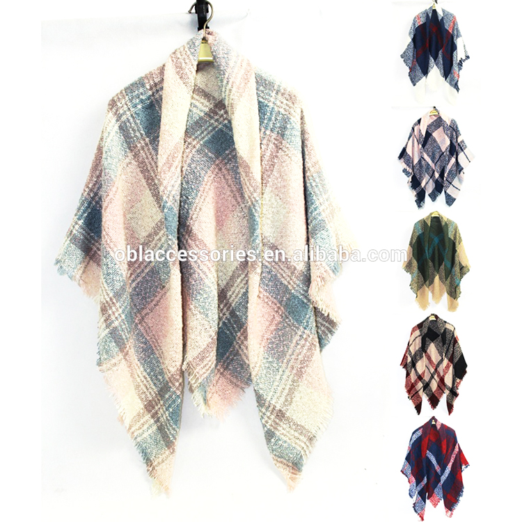 New winter fashion luxury plaid cashmere blanket scarves women